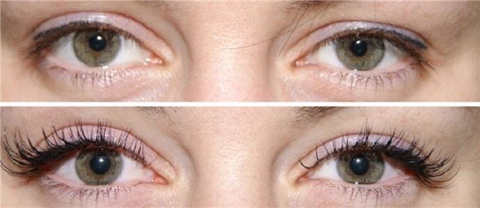 Разреженный эффект наращивания ресниц - результат до и после